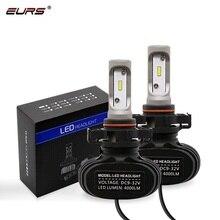 EURS TM 2PCS S1 H16 Eu LED Car Headlight Bulbs 50W 6500K 8000Lumen H4 H13 9004