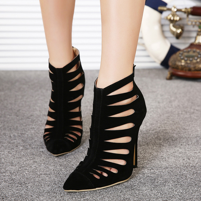 14620659bec Cheap Price Black Suede Leather Pointed toe V-style Ankle Boot High Heel  Cage Shoes Women Size 35-40 High Cutout Gladiator Boot