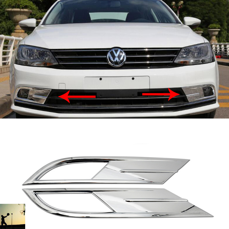Volkswagen 2015 Jetta: Car Styling ABS Chrome Front Rear Fog Lamps Cover Trim For