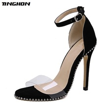 TINGHON New Rivet Women Sandals Open Toed High Heels Sexy Buckle Strap Cover Heel Yellow Black Dress Pumps