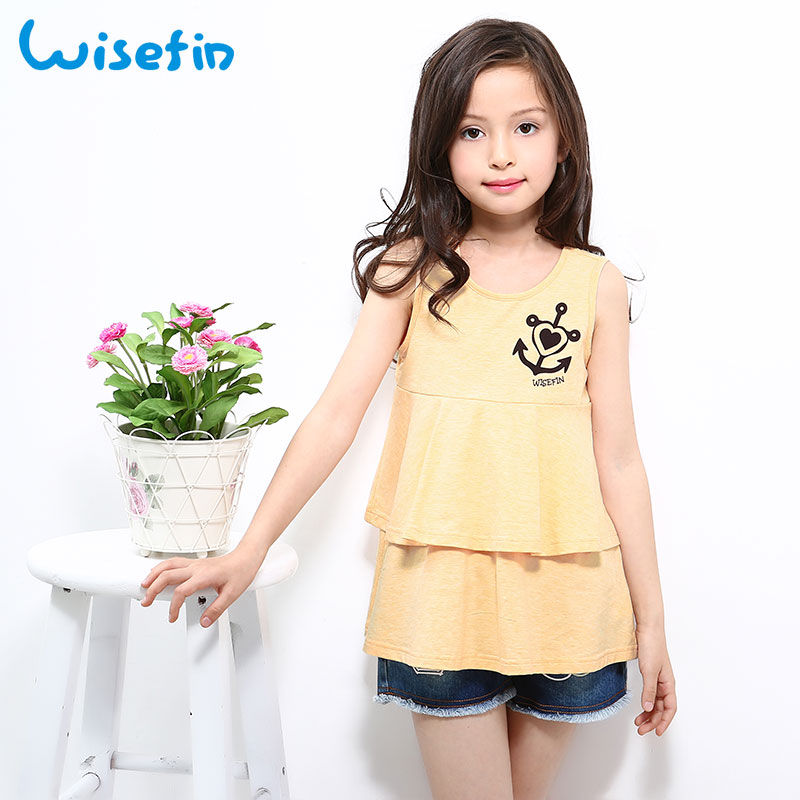 Wisefin Ruffle Girl Tops And Tees Summer Cotton Children Kids Long Style T-shirt O-Neck Sleeveless Kids Clothes Tshirt for girls