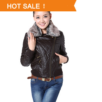 Hot Sale 2013 New Arrival Winter Autumn PU Leather Jacket Brand Design Fashion Brown Fur Collar Coat For Women outerwear female