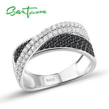 SANTUZZA Silver Ring For Women 925 Sterling Silver Round Rings Black Spinel Cubic Zirconia кольца Trendy Party Fashion Jewelry