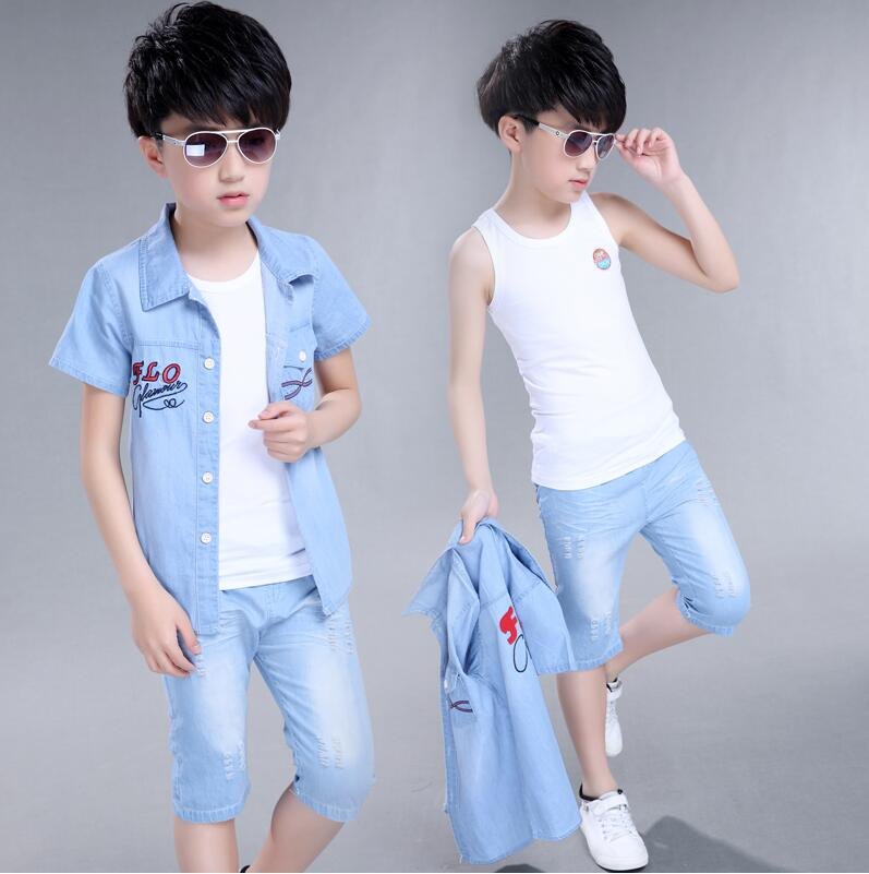 Children s wear suits for the 2017 new children s cowboy short sleeved boys clothes summer