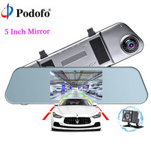 Podofo 5″ IPS 1080P Dash Cam Mirror Dual Dash Camera Touch with G-Sensor Night Vision Reversing Dash Camera Parking Monitor