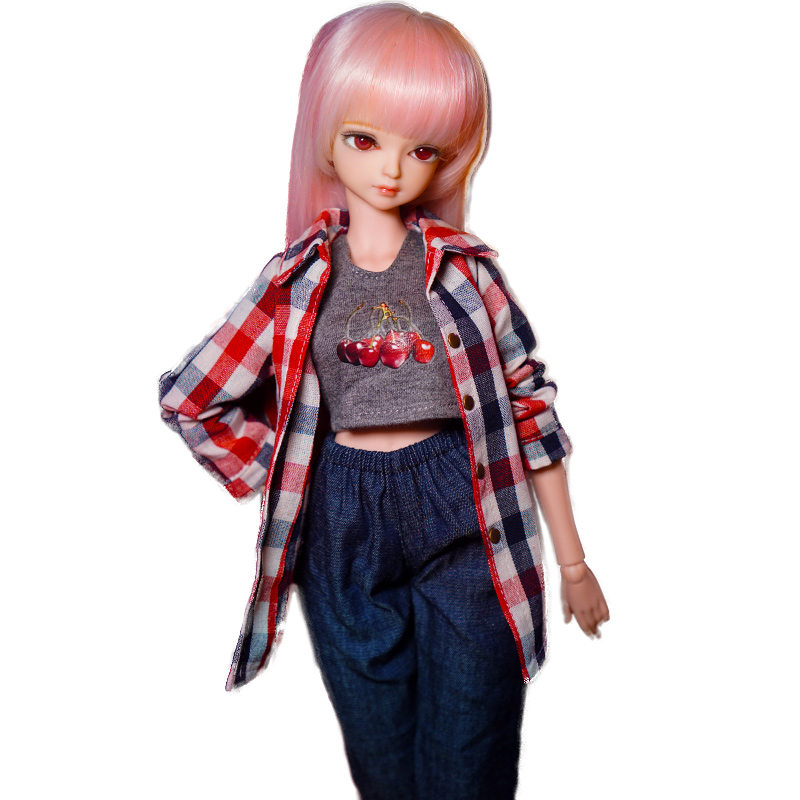 Educational 45CM 18Inches Girl Doll With Pink Long Straight Hair And Plaid Shirt DIY BJD Doll Toys For Girls As Birthday Gift