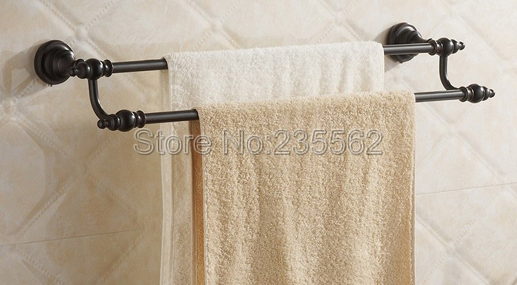 NEW Black Oil Antique Brass Bathroom Accessory Wall Mounted Double Towel Rail Bar lba822