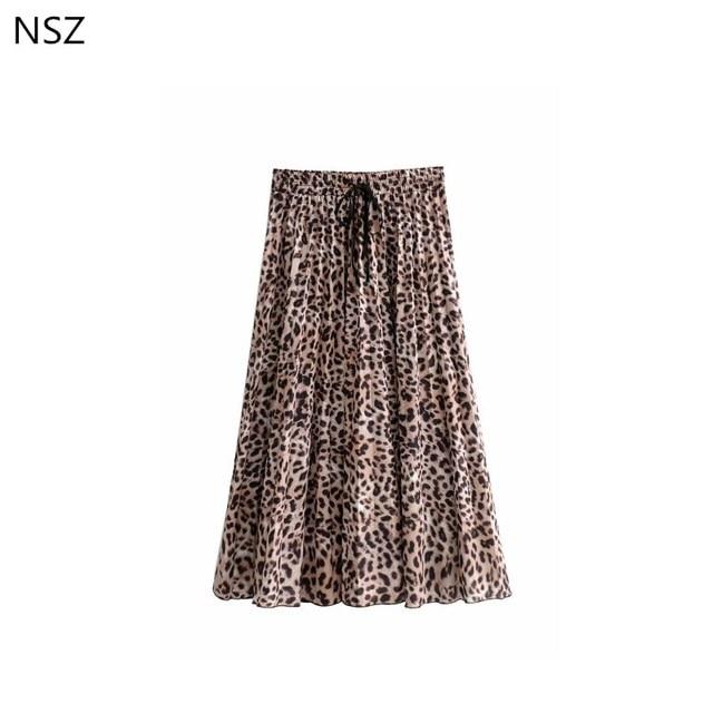 NSZ Women Animal Print Leopard Pleated Skirt Causal Beach Lace-Up Waist Ladies Skirt Fashion Autumn 2018