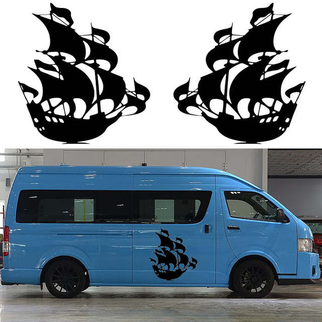 US $17 99 |2x Ship Medieval Corsair Graphic Personalized Theme Car Stickers  Camper Van SUV RV Trailer Truck Door Vinyl Kit Decals Jdm-in Car Stickers