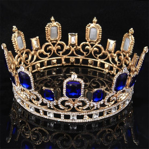 Image 3 - Vintage barroco azul cristal grande Tiaras y coronas boda joyería de pelo de Reina rey boda accesorios de la joyería