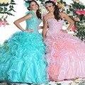 2017 vestidos sem mangas de organza vestido de baile quinceanera sweet 16 vestidos plissados vestidos de quinceanera personalizado lace-up de volta