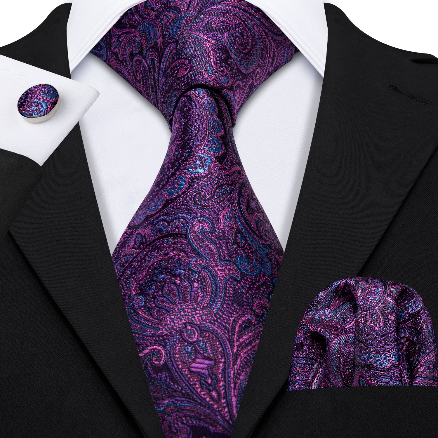 Barry.Wang Designer Purple Paisley Men Ties 8.5cm Wide Silk Tie Hanky Box Set Gifts For Men Wedding Groom Gravat Necktie LS-5158