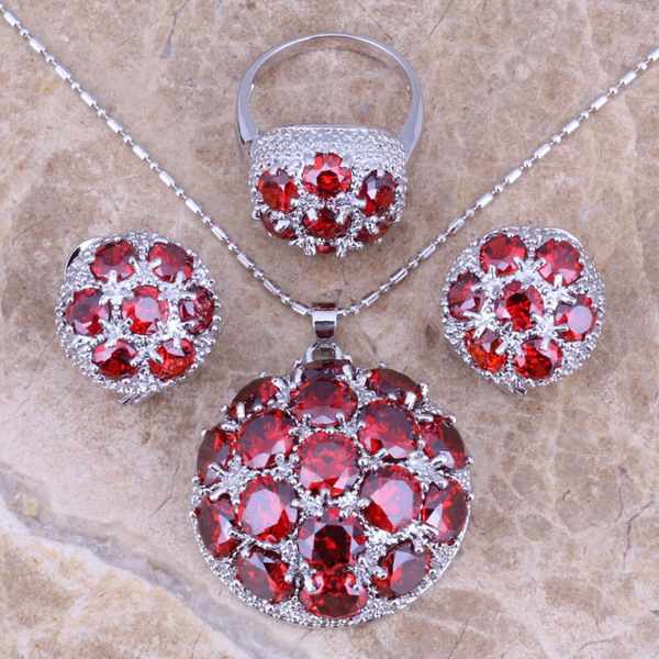 Gracious Red  Garnet Silver Jewelry Sets Earrings Pendant Ring For Women Size 6 / 7 / 8 / 9 / 10 / 11 / 12  S0023