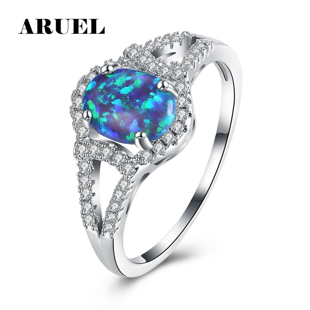 ARUEL Trendy Blue color stone For Women crystal Ring Silver color fashion popular Rings Party wedding bride charm Jewelery gift