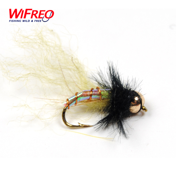 Wifreo 10PCS #12 Holographic Brass Bead Head Midge Chironomidae Fly Trout Fishing Flies Nymph Lure