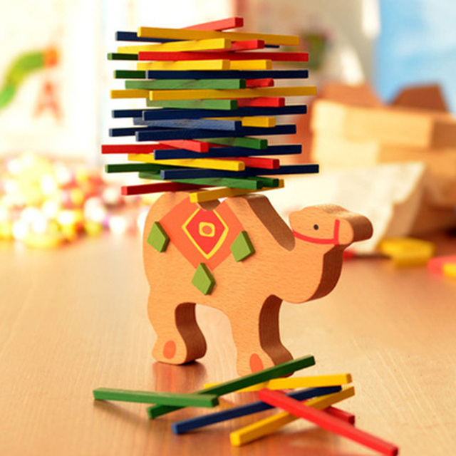 Kids Wooden Toys Cteature Camels and Elephants Balance Beam Cartoon Cute Shape Children's Puzzle Educational Toys