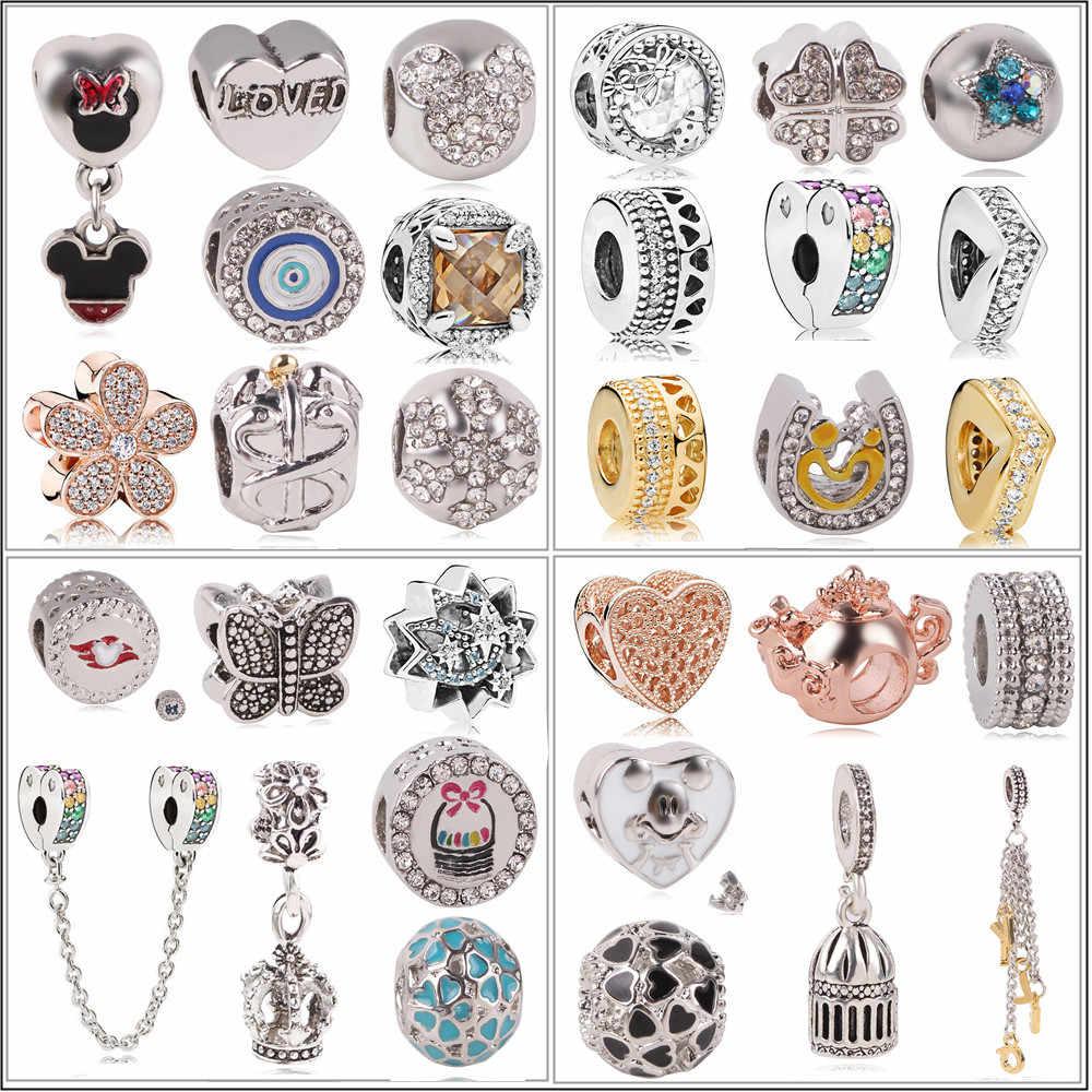 Новый оригинальный посеребренный бисер сплав семья мать Любовь Подвеска-Шарм в виде сердца Fit Pandora браслет ожерелье DIY женские ювелирные изделия
