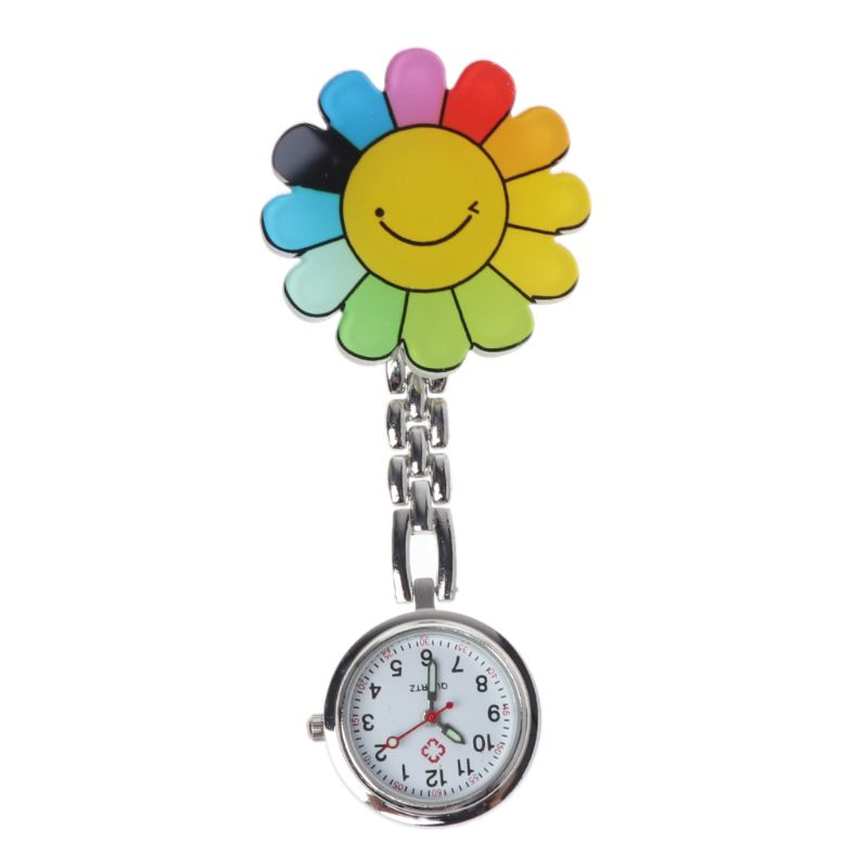 Doctor Pocket Watches Charm Portable Convenient Acrylic 3D Cartoon Decorative Vintage Silver Small Mini Hang Clip Nurse Watch