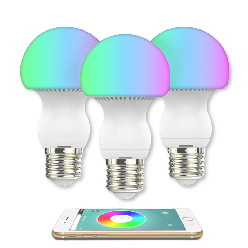 Smart Dimmable Bluetooth  Mushroom Eye protection bulb   E27 LED AC85-265V Intelligent  Adjustable RGB LED Bulb smart dimmable mushroom led bulb household intelligent lighting rgb e27 600lm ac85 265v switchable for ios and android