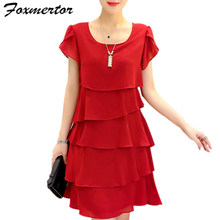 2020 New Women Plus Size 5XL Summer Dress Loose Chiffon Cascading Ruffle Red Dresses Causal Ladies Elegant Party Cocktail Short(China)