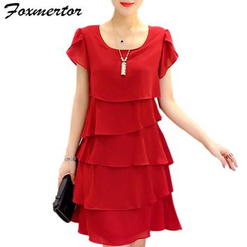 2021 nowych kobiet Plus rozmiar 5XL letnia sukienka luźna z szyfonu kaskadowe wzburzyć czerwone sukienki przyczynowe panie elegancka strona krótka sukienka koktajlowa tanie i dobre opinie foxmertor A-LINE CN (pochodzenie) Lato Z okrągłym kołnierzykiem Dzwonowaty rękaw mankiety Na co dzień Do kolan POLIESTER