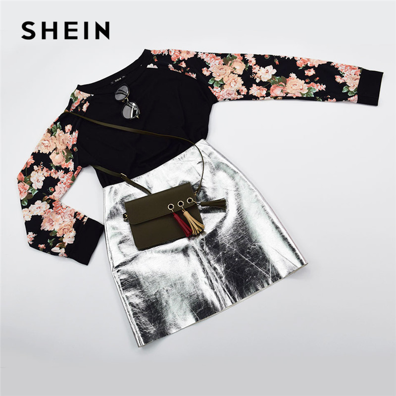 SHEIN Floral Print Raglan Sleeve Casual Plus Size Black Womens Top Tees 2018 Autumn New Round Neck Long Sleeve Workwear T Shirt 6