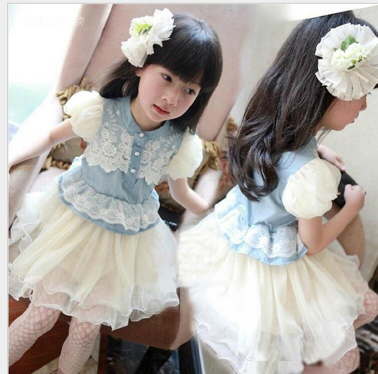 2017Summer New Lace Denim Dress Ball Gown Sweet Princess BaBy Girl Clothes Floral Mesh Design For Girls puff sleeve Hot Sale T09 h16 2013 hot baby summer new design stylish and elegant multi layered lace roses very beautiful girl in evening dress