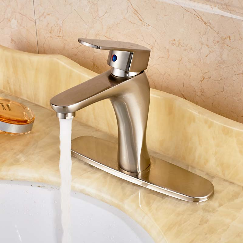 Free Shipping Nickel Brushed Bathroom Sink Faucet Deck Mounted Basin Carne With Cover Plate la carne