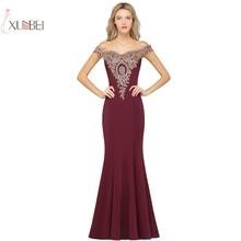 2019 Mermaid Long Evening Dress Off The Shoulder Applique Gown robe de soiree