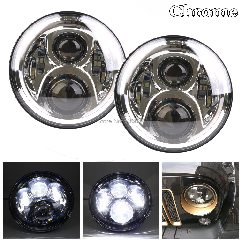 2PCS 60W Chrome 7inch Round Projector Daymaker LED Headlights H4 Auto Hi/Low Beam Headlight For Jeep Wrangler LJ Unlimited 2pcs new design 7inch 78w hi lo beam headlamp 7 led headlight for wrangler round 78w led headlights with drl