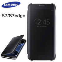 Samsung S7 S7 Edge Case Mirror Clear View Smart Cover 100 Original Intelligent Sleep Protective Flip