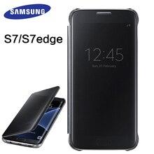 Samsung Galaxy s7 s7 borde caso claro espejo ver smart cover 100% Original cubierta del caso del tirón del teléfono protectora del sueño inteligente