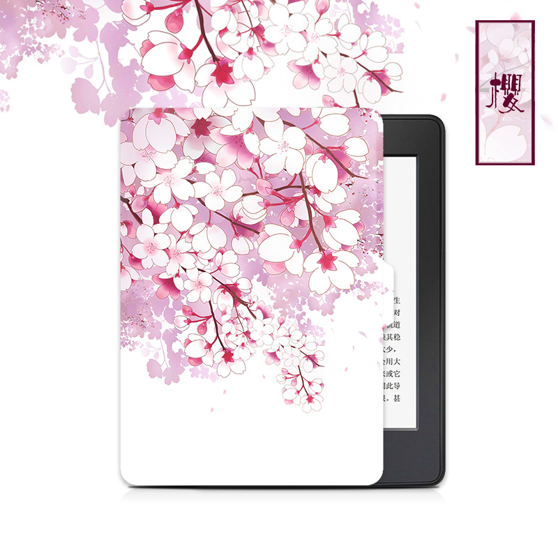 New Sakura Design Kindle Paperwhite Case 3 2 1, Folio Pu Leather Tablet Cover for Amazon Voyage /2016 8th Kindle Case 6 Inch japan tokyo boy girl magnet pu flip cover for amazon kindle paperwhite 1 2 3 449 558 case 6 inch ebook tablet case leather case