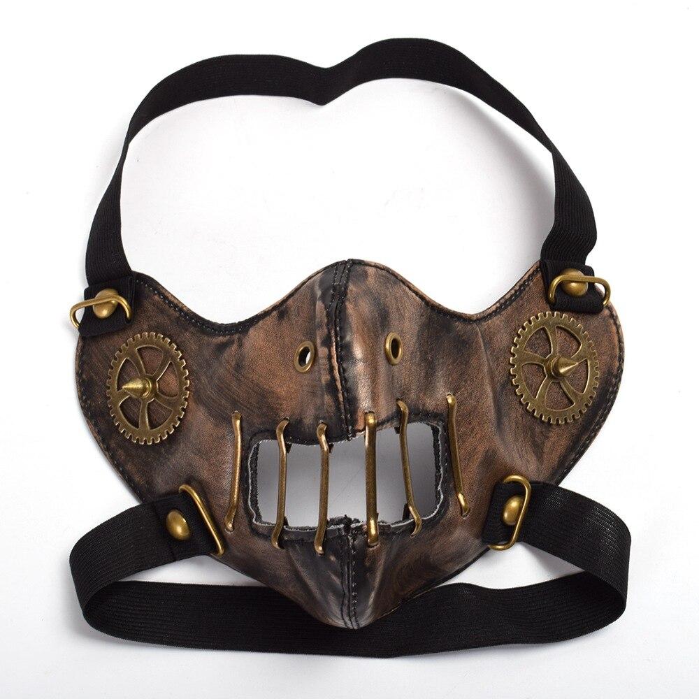 Готическая панк-маска марочный унисекс Косплей Хэллоуин Заклепка Стимпанк шестерня Лицевая маска - Цвет: A