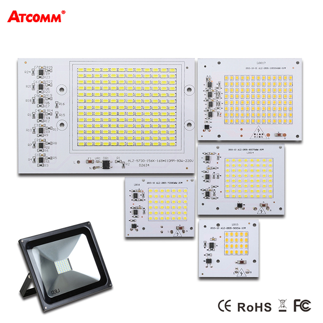 Smart IC LED Lamp AC 220V 90W 50W 30W 20W 10W High Lumen SMD 5730 COB Chip With Driver LED Floodlight Outdoor Street Spotlight