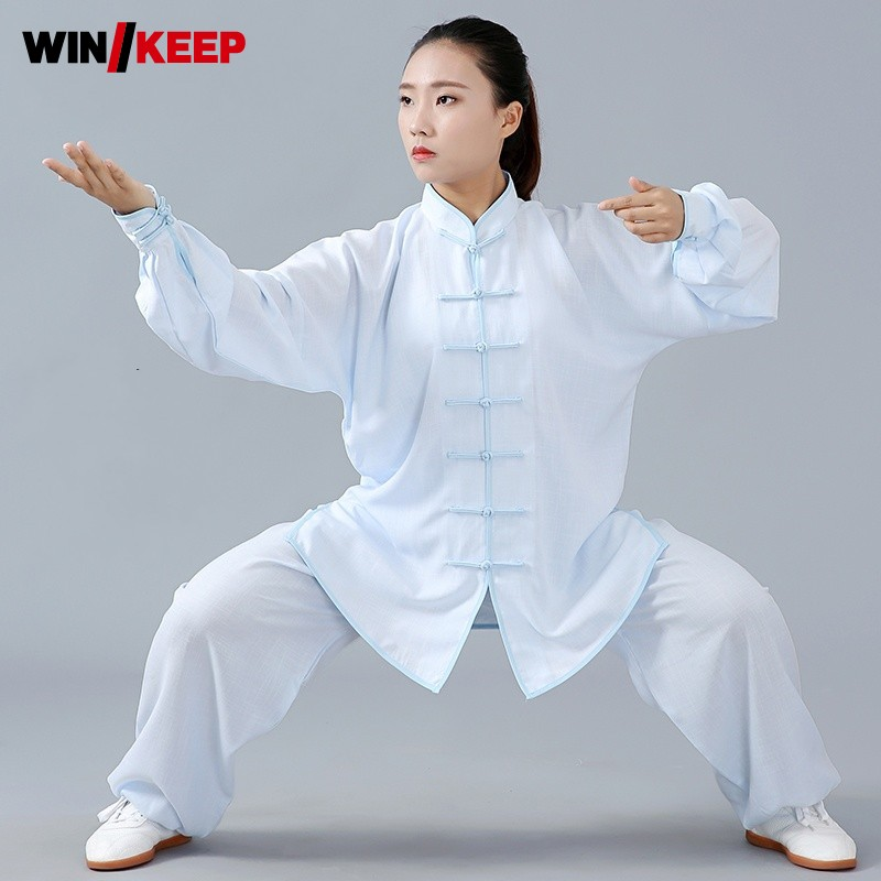 Unisex Tai Chi Uniform Summer New Cotton Linen Wushu Kung Fu Clothing Women Men Martial Arts Wing Chun Suit Meditation Tracksuit