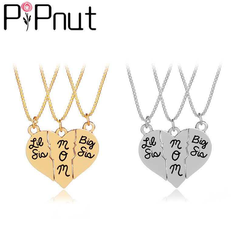 Pipnut Big sis mom Three-piece Mosaic Love Necklace Fashion Necklace Simple Jewelry Mothers Day Gift PN133
