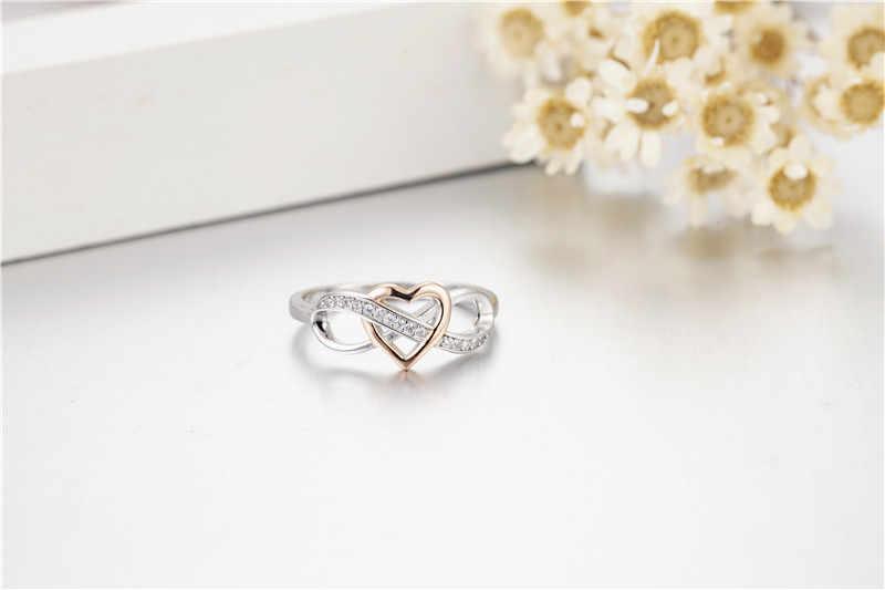 แท้ 100% 925 Sterling Silver Heart Finger แหวนเงินสเตอร์ลิง Silver Pave sona เพชรเครื่องประดับ Anel ของขวัญ sz 5-10