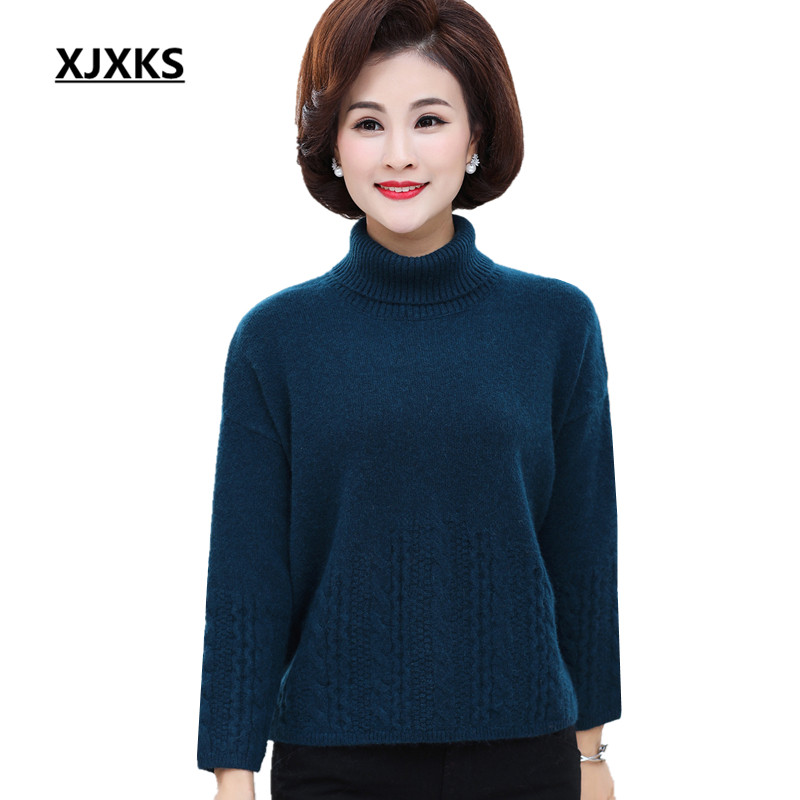 XJXKS Women s Turtleneck Sweater Winter 2019 New Warm Thicken Rabbit Velvet Loose Plus Size Knitting