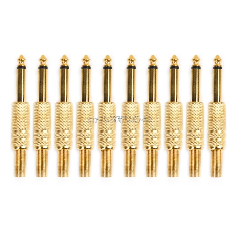 10 Pcs Gold Plated 6.35mm Male 1/4 Mono Jack Plug Audio Connector Soldering R06 Whosale&DropShip