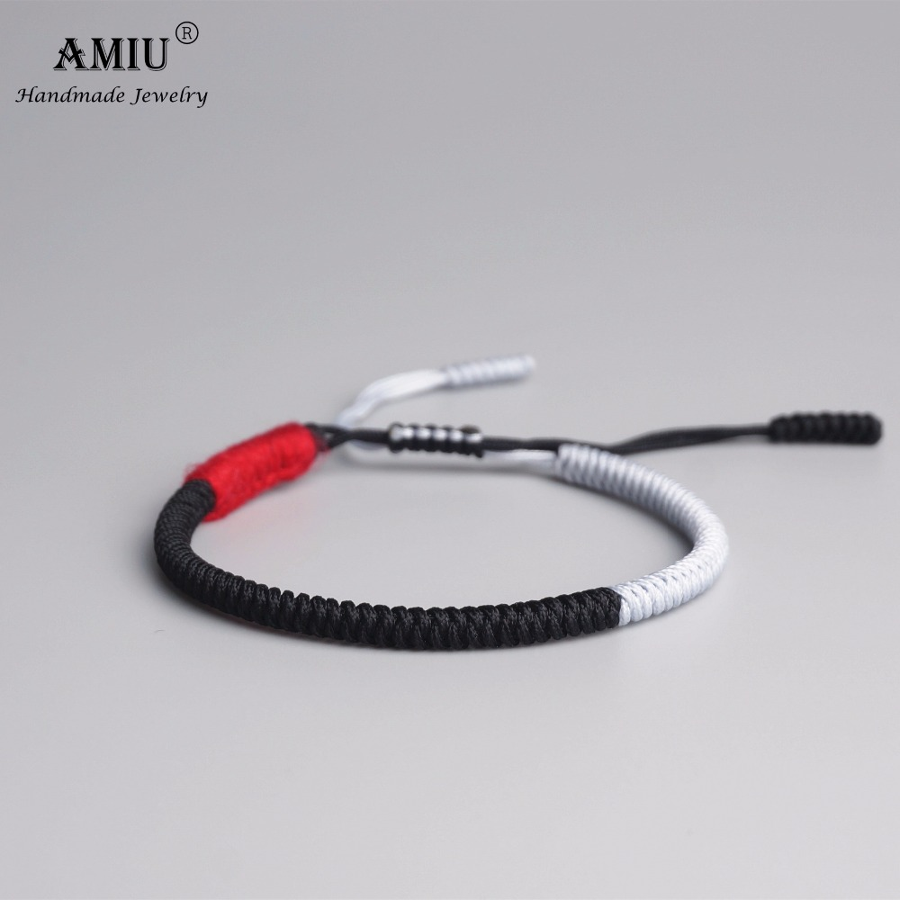 AMIU Tibetan Buddhist Lucky Charm Tibetan Bracelets & Bangles For Women Men Handmade Knots Black Rope Christmas Gift Bracelet