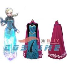 Elsa Coronation Women Adult Black Shirt Blue Long Dress With Cloak Anime Party Halloween Cosplay Costume Free Shipping