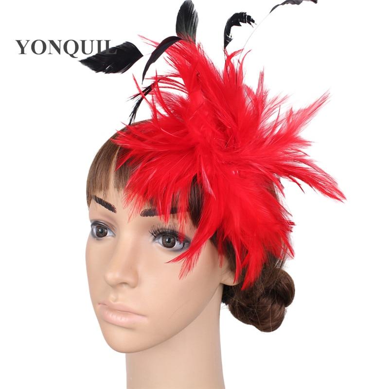 Várias cores headpiece pena alta qualidade fascinator chapéus com - Acessórios de vestuário - Foto 6