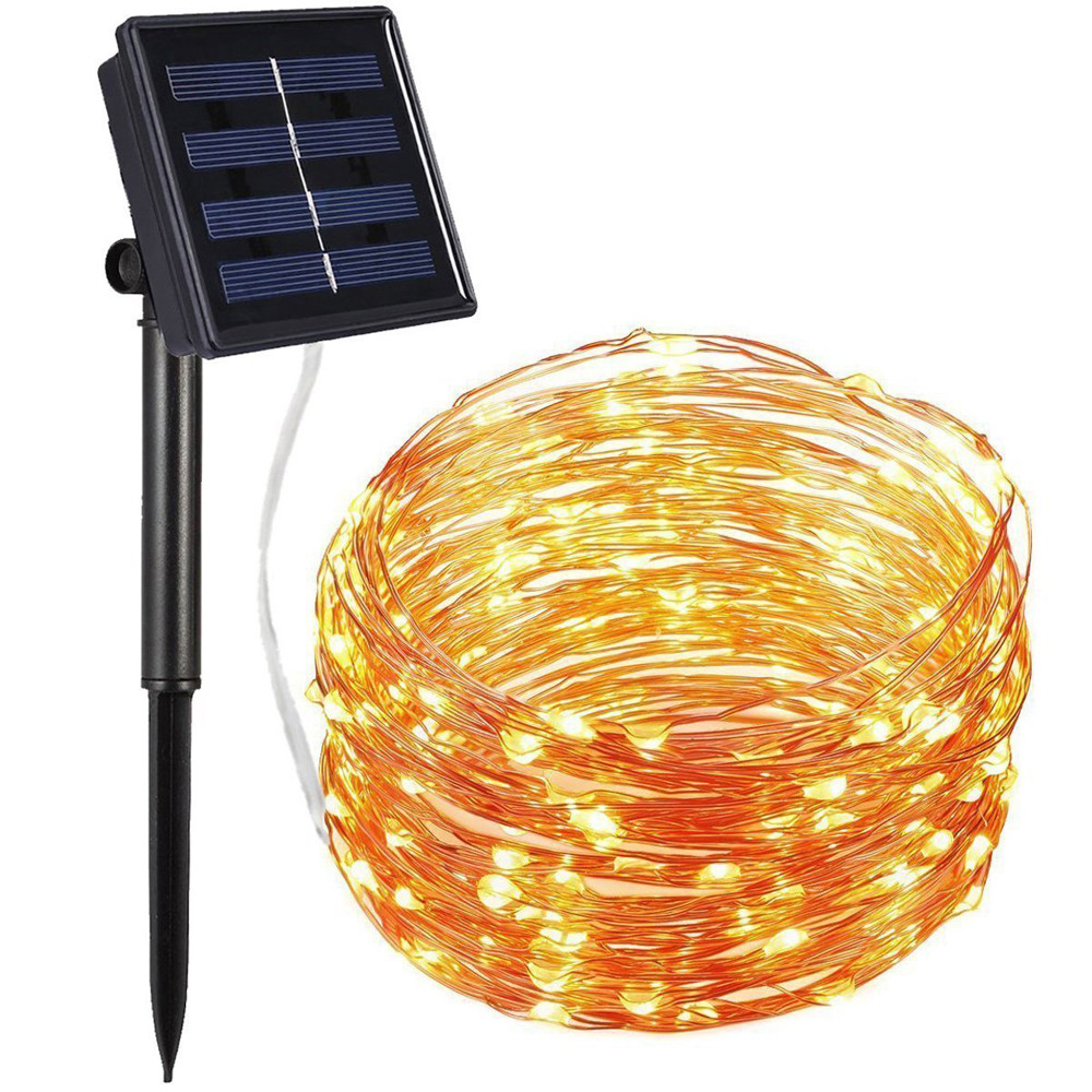 MUQGEW 72ft 22M 200 LED Strip Home Garden Copper Wire Light String Solar Powered
