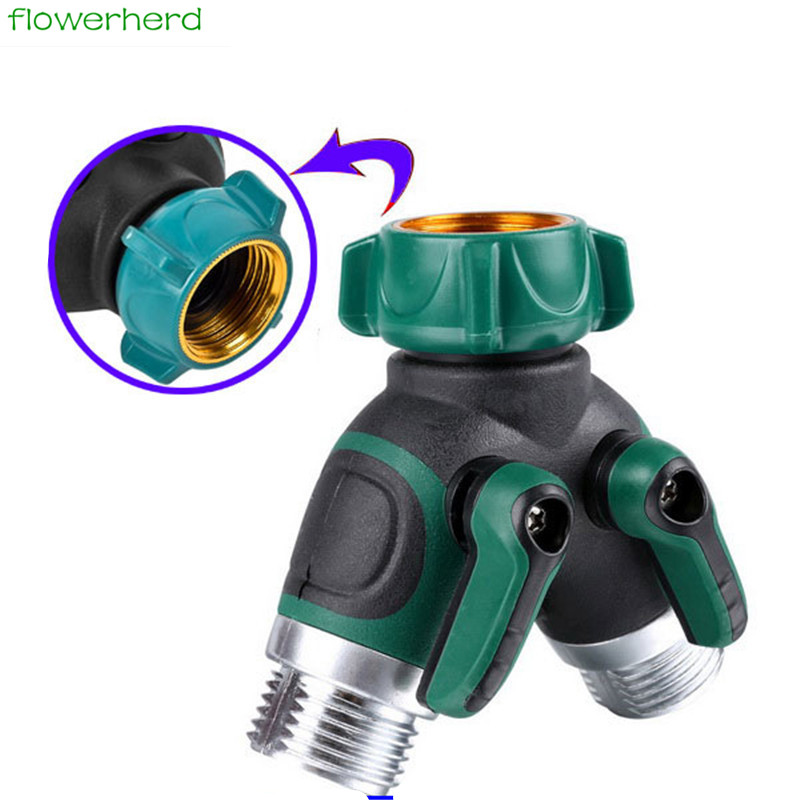 "3/4"" Garden Hose Splitter Faucet Switch On / Off Valve"