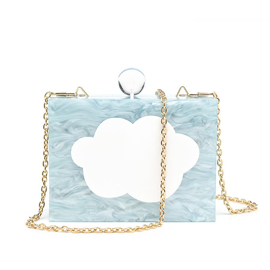 Cross-Body-Bag Acrylic Clouds Handbag Flap Chains Evening-Bag Party Purse Mini Clutch