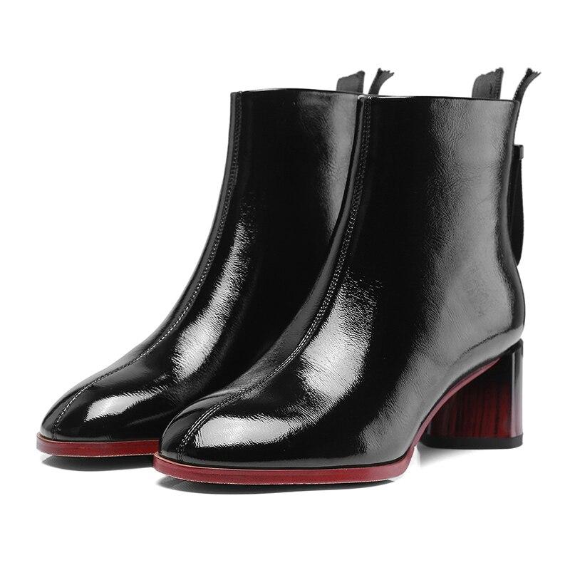 Carré Wetkiss Bout beige Zip Plush Femme 2018 Boot Pu Brevet Femmes Chaussures De Short Noir Talons Black Cheville Bottes Haut Nouveau Plush Ronde Hiver rrY0Xx