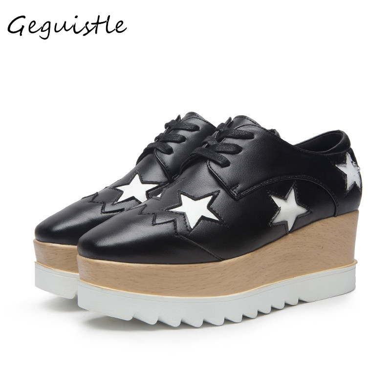 Women Fashion Casual Shoes White Star Element Loose Bottom High Heels British Pumps High Platforms Shoes