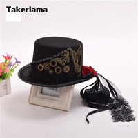 Takerlama Retro Vintage Unisex Butterfly Steampunk Rose Gears Black Top Hat Gothic Victorian Hats Halloween Lolita