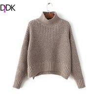 DIDK Coffee Mock Neck Drop Shoulder Dip Hem Sweater Autumn Pullovers Long Sleeve Sweater Women S